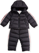 Moncler Quilted Down Jacket & Pant Snow Suit, Navy, Size 3-24 Months