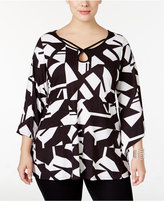 NY Collection Plus Size Printed Angel-Sleeve Tunic