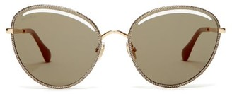 Jimmy Choo Mayla Round Metal Sunglasses - Womens - Green Multi