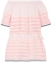 Lemlem Nadia off-the-shoulder striped cotton-blend gauze mini dress