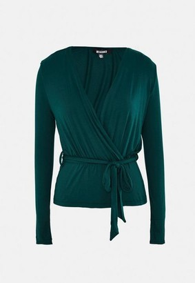 Missguided Wrap Front Peplum Top