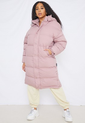 Missguided Plus Size Mocha Longline Padded Puffer Coat