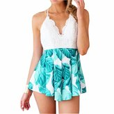 QIYUN.Z Spaghetti Strap V Beck Women Beach Backless Bandage Romper Jumpsuits Combinaison