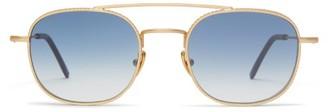 L.g.r Sunglasses - Alagi Double-bridge Metal Sunglasses - Blue Gold