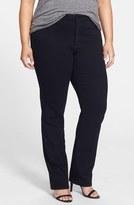 NYDJ 'Marilyn' Stretch Straight Leg Jeans (Black) (Petite Plus)