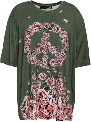 Love Moschino Oversized Floral-print Stretch-modal T-shirt