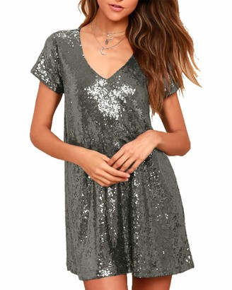 YOINS Women Sparkly Sequin Mini Dresses Short Sleeve Sexy V Neck Glitter Party Dresses Casual Blouse Clubwear Short Sleeve~Silver Large