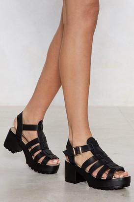 Nasty Gal Womens Black Vegan Leather Gladiator Sandal