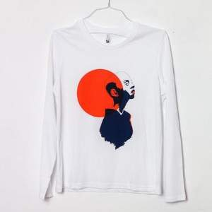 Tidy Print - Printed Kiki Press Long Sleeve T Shirt - XS - White/Orange/Blue