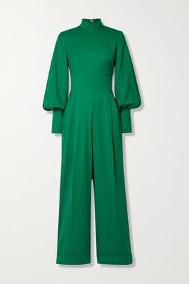Emilia Wickstead Elvina Pleated Wool Jumpsuit - Green