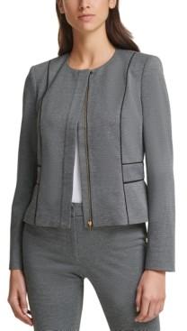 Calvin Klein Petite Piped-Trim Cropped Jacket