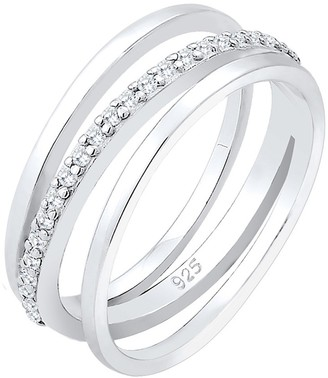 Elli Women's 925 Sterling Silver Stacked Anniversary Ring M 0602392318_52