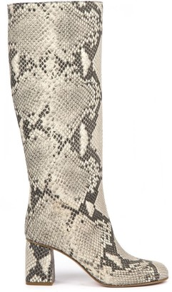 RED Valentino Snakeskin-effect Rock Color Leather Boots
