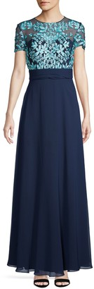 JS Collections Embroidered Illusion Flare Gown