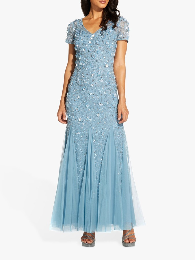 Adrianna Papell Godet Embellished Maxi Gown, Air Sky