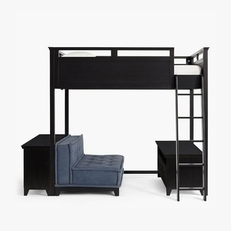 Pottery Barn Teen Hampton Loft Bed with Cushy Loveseat, Media & Bookcase Set