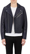 Acne Studios Men's Leather Moto Jacket-NAVY