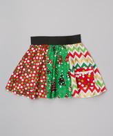 Beary Basics Red & Green Tree Patchwork Skirt - Infant Toddler & Girls