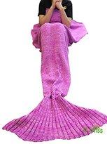 """U-miss Mermaid Blanket Crochet and Mermaid Tail Blanket for adult, Super Soft All Seasons Sleeping Blankets(71""""x35.5"""",Pink)"""