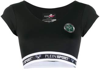 Plein Sport logo band cropped T-shirt