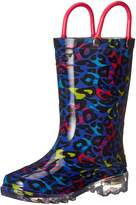 Western Chief Girls Groovy Leopard Light-up Rain Pull-on Boot