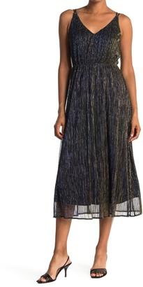 Sam Edelman Metallic Plisse Midi Dress