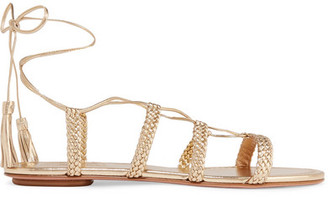 Aquazzura Stromboli Braided Metallic Leather Sandals - Gold