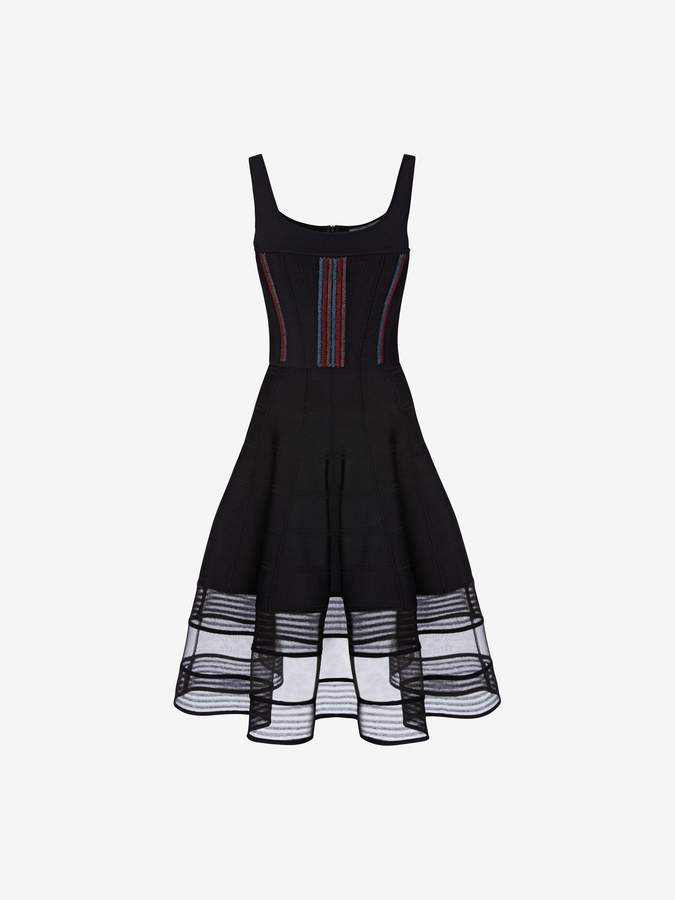 Alexander McQueen Feather Stitch Corset Dress