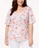 Karen Scott Plus Size Printed V-Neck T-Shirt, Created for Macy's