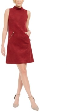 Donna Ricco Faux-Suede Mock-Neck Sheath Dress
