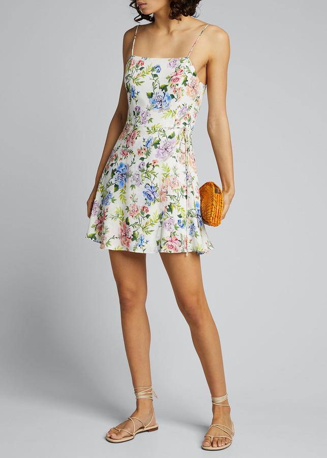 Alice + Olivia Trixie Spaghetti-Strap Mock Wrap Dress