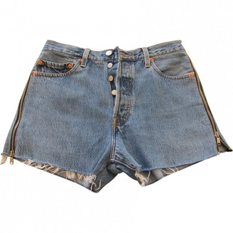 RE/DONE Blue Cotton Shorts for Women