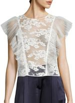 ABS by Allen Schwartz Sheer Lace Cropped Top