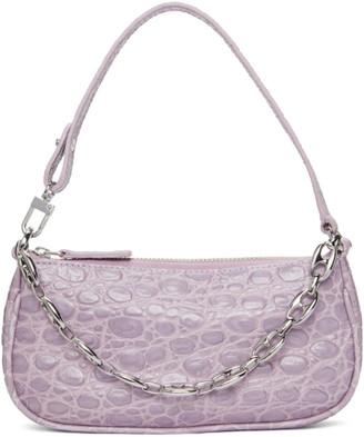 BY FAR Purple Croc Mini Rachel Bag