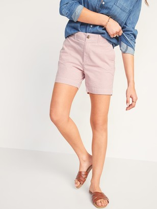 Old Navy High-Waisted Gingham Seersucker Everyday Shorts for Women -- 5-inch inseam