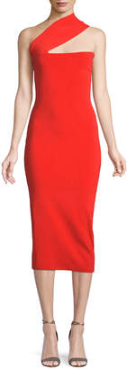 SOLACE London Vida One-Shoulder Bodycon Midi Dress