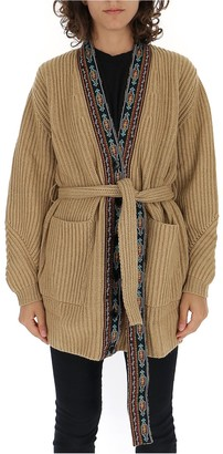 Etro Embroidered Trim Belted Cardigan