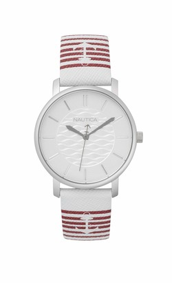 Nautica Women's Analogue Analog Quartz Watch with Leather Calfskin Strap NAPCGS007