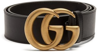 Gucci GG-logo Leather Belt - Black