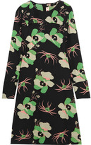 Marni Floral-print Silk Crepe De Chine Dress - Green