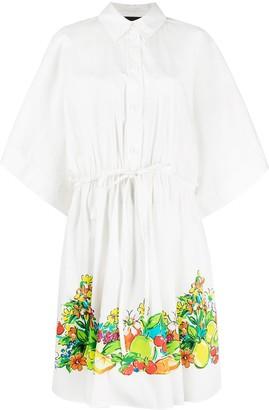 Boutique Moschino Fruit Print Shirt Midi Dress