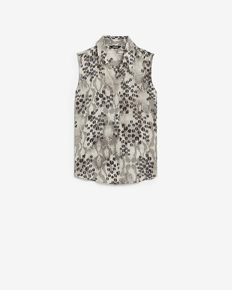 Express Animal Print Sleeveless Button Front Shirt