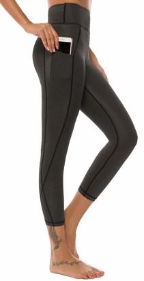 Equipment AOOM Yoga Capris Yoga Leggings Yoga Capris for Women (Black&Grey S)