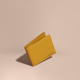Burberry London Leather International Bifold Wallet, Yellow
