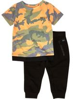 River Island Mini boys orange camo T-shirt joggers set