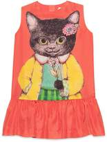Gucci Children's silk dress with kitten print