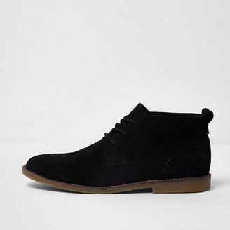 River Island Black suede chukka boots