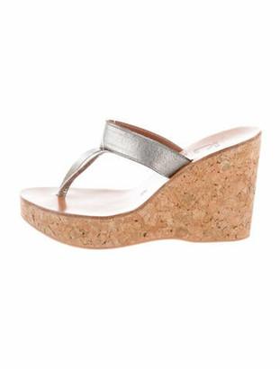 K Jacques St Tropez Leather T-Strap Sandals Silver