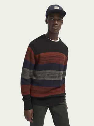 Scotch & Soda Wool-cotton blend multicolour stripe knit | Men