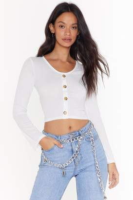 Nasty Gal Womens Soft at Heart Ribbed Button Top - white - 12